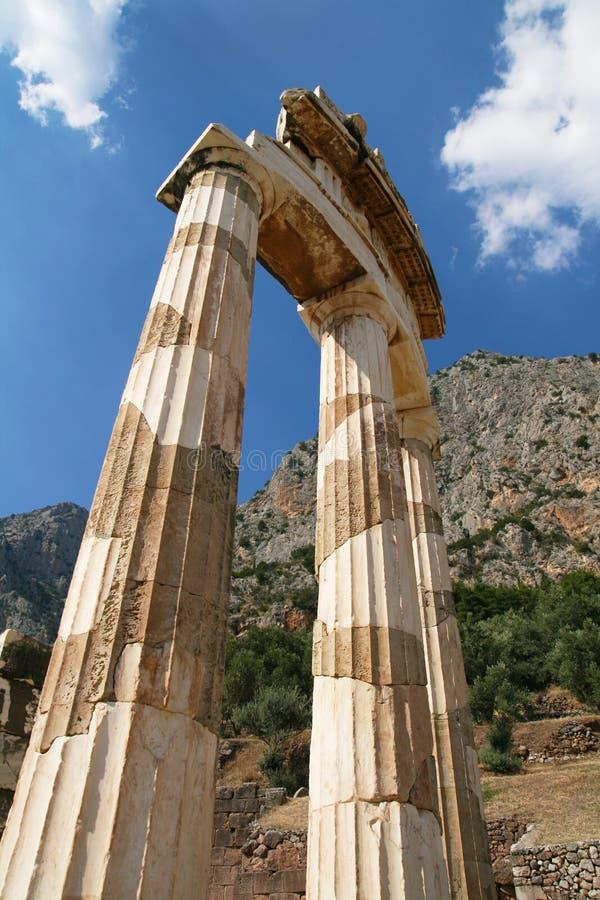 特尔斐Tholos多立克体柱子  库存照片