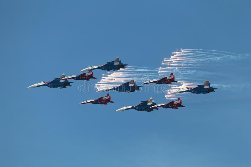 特技队Swifts和俄国骑士 库存图片