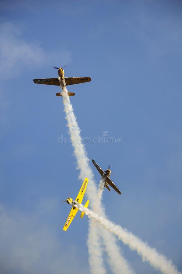 特技飞行飞机展示 图库摄影