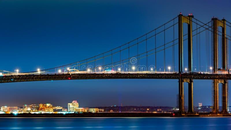 特拉华纪念品桥梁构筑的威明顿地平线 免版税库存照片