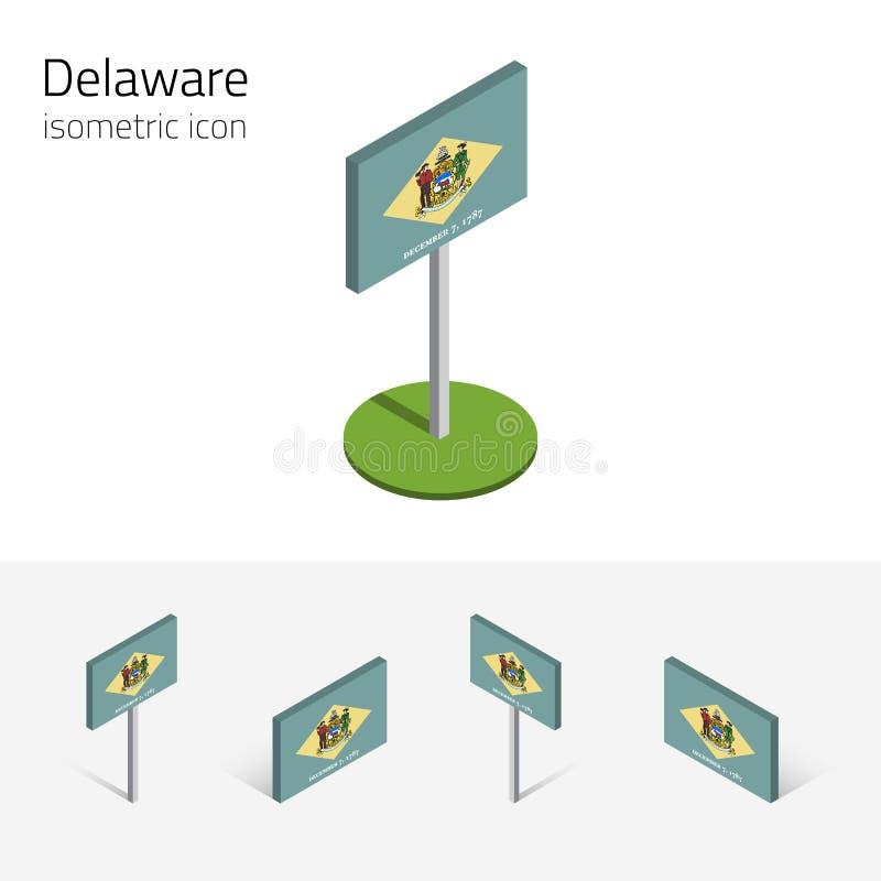 特拉华美国,传染媒介3D等量平的象的旗子 向量例证