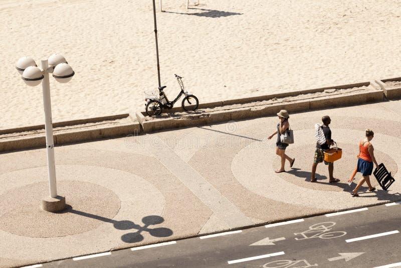 在海滩的夏天在特拉唯夫 免版税库存图片