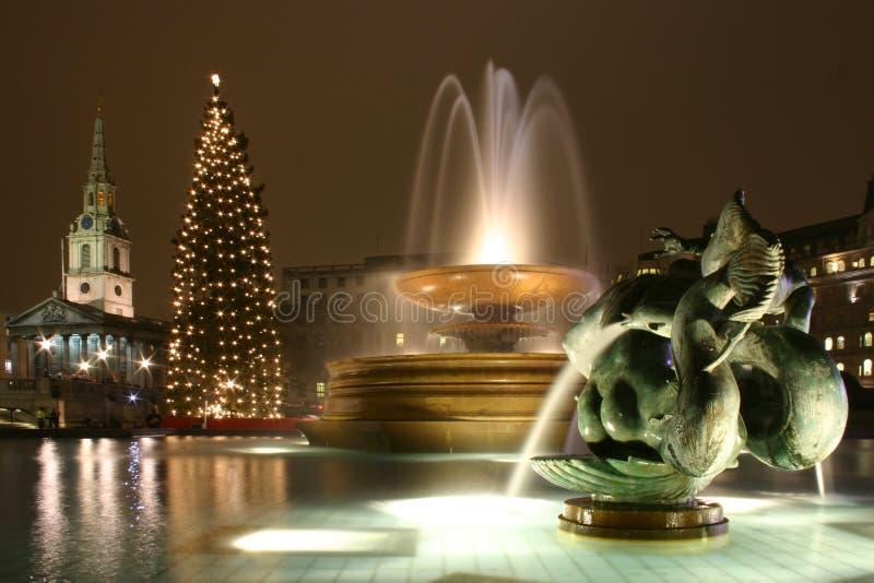 特拉法加广场伦敦圣诞节 图库摄影