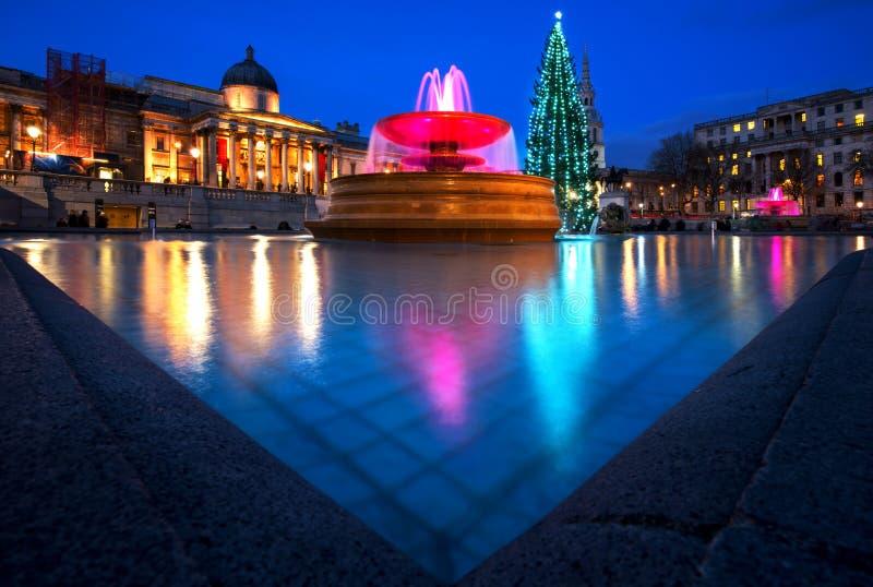 特拉法加广场圣诞节在伦敦,英国 免版税库存照片