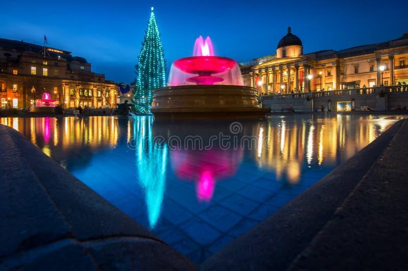 特拉法加广场圣诞节在伦敦,英国 免版税库存图片