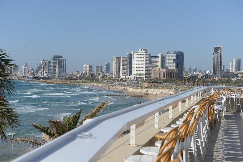 特拉维夫海滨如被看见从老贾法角 以色列 免版税图库摄影