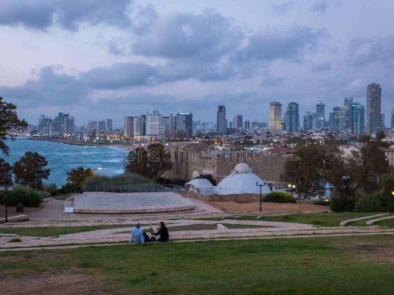 特拉维夫看法从老贾法角,以色列的 免版税库存照片
