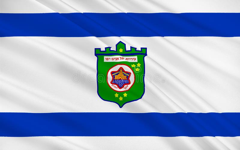 特拉维夫,以色列旗子  向量例证