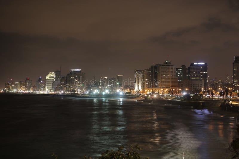 特拉维夫,以色列,在晚上 库存照片