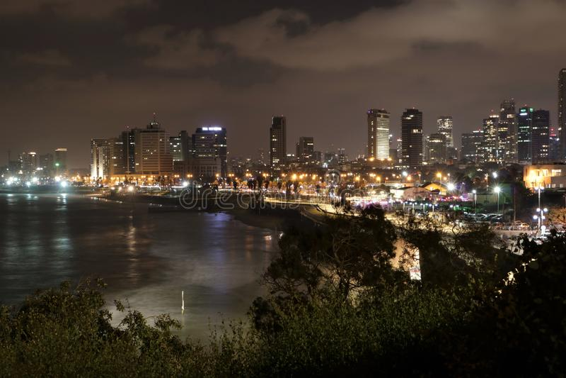 特拉维夫,以色列,在晚上 库存图片