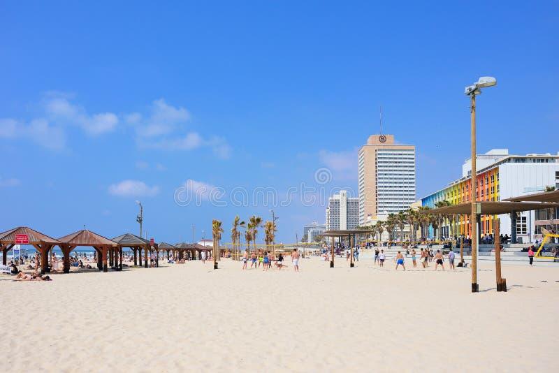 特拉维夫,以色列- 2017年4月:与其中一些著名旅馆,地中海的特拉维夫海滩 图库摄影