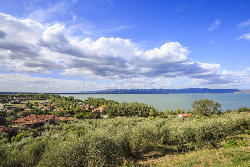 特拉西梅诺湖在翁布里亚在意大利 库存照片