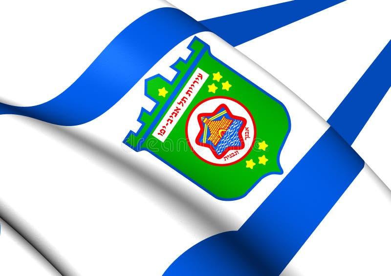 特拉维夫,以色列旗子  库存例证