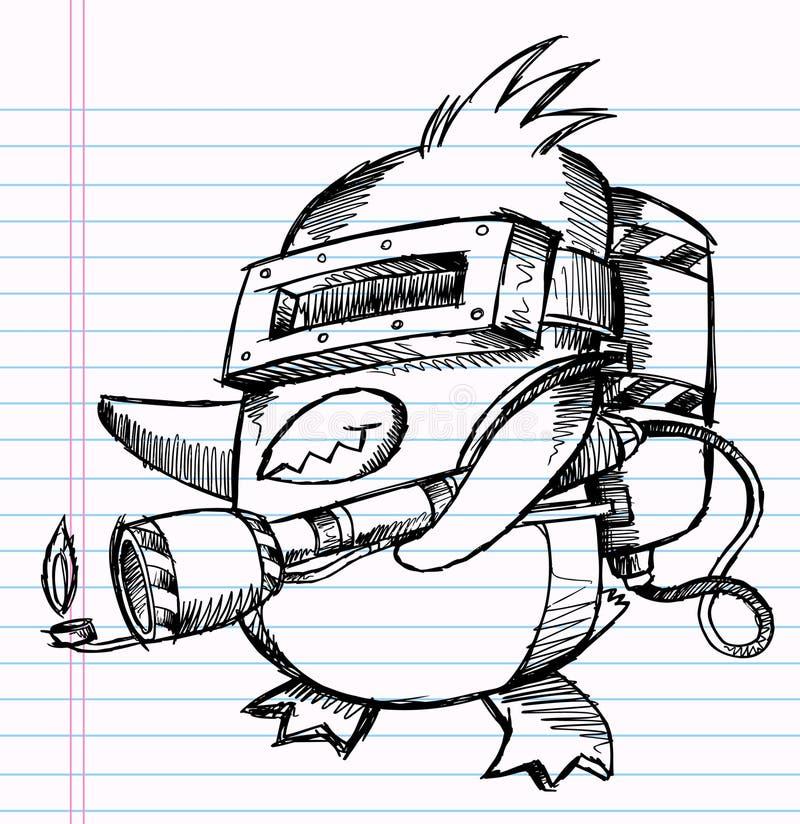 特攻队乱画笔记本企鹅草图 皇族释放例证