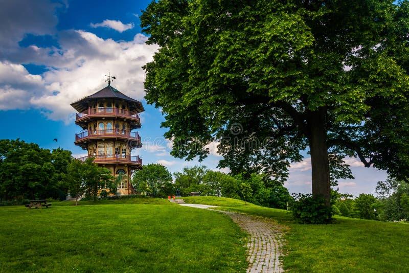 特森公园的塔在巴尔的摩,马里兰 免版税库存照片