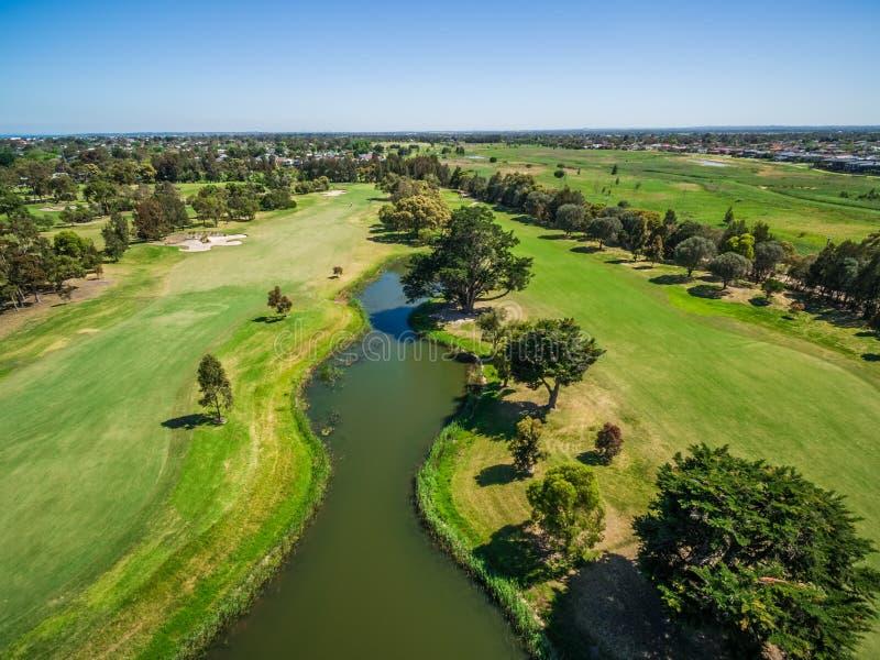 特森河高尔夫俱乐部,墨尔本,澳大利亚鸟瞰图  图库摄影