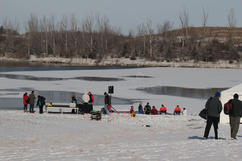 特殊奥林匹克内布拉斯加极性Plunge湖和设置 库存图片