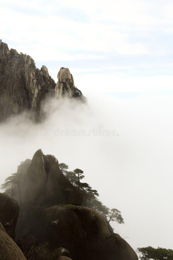特点黄山风景,美丽如画象仙境 免版税图库摄影