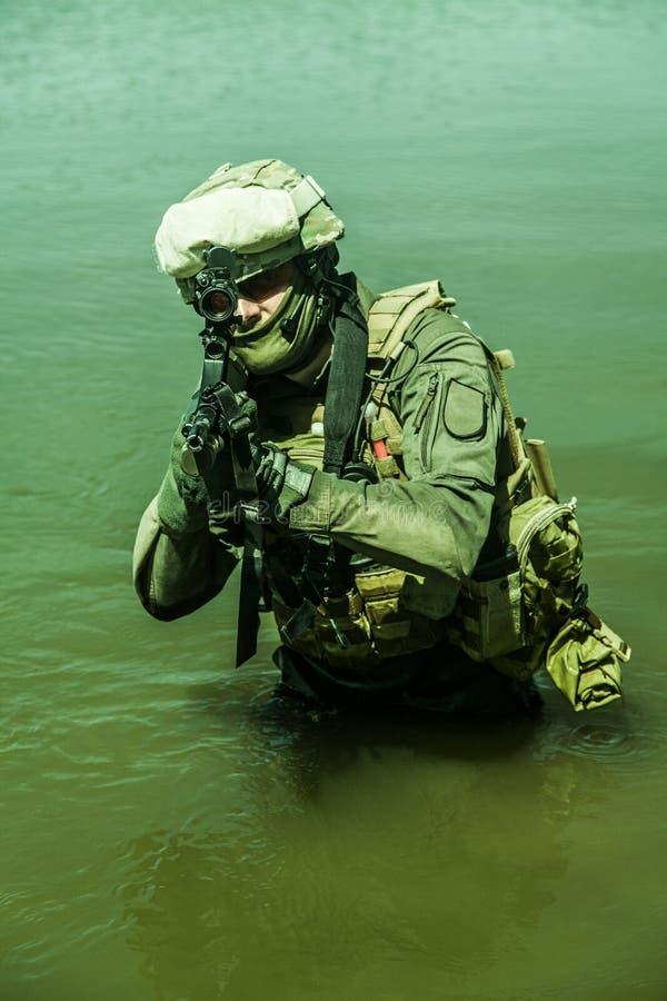 特种部队在水中 图库摄影