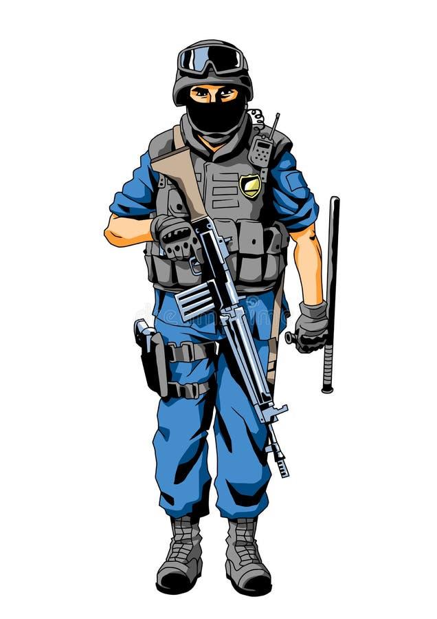 特种部队警察字符 皇族释放例证
