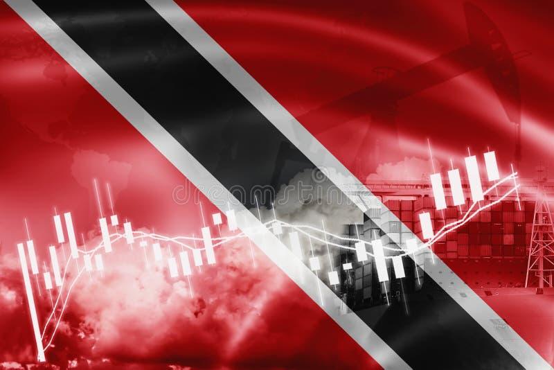 特立尼达和多巴哥旗子、股票市场、交换经济和贸易、石油生产、集装箱船在出口和进口业 库存例证