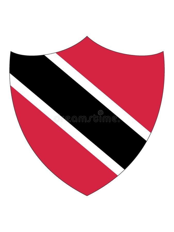 特立尼达和多巴哥的盾形的旗子 库存例证