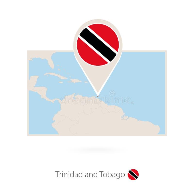 特立尼达和多巴哥的长方形地图有特立尼达和多巴哥的别针象的 向量例证