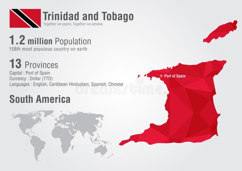 特立尼达和多巴哥与映象点金刚石纹理的世界地图 库存例证