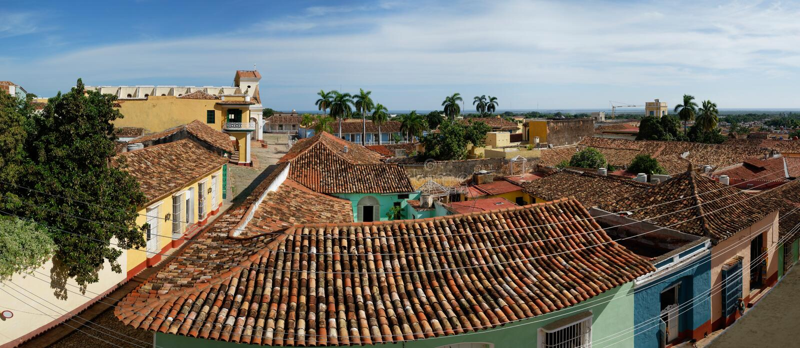 特立尼达de古巴的全景 免版税库存图片