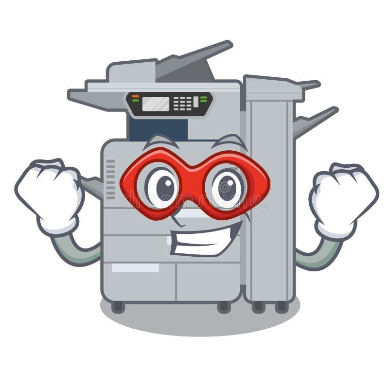 特级英雄在动画片隔绝的影印机机器 向量例证