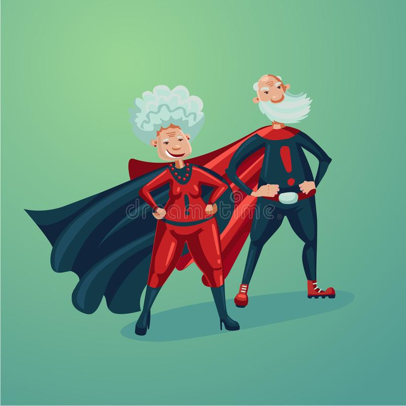 特级英雄夫妇 老妇人和资深成人人 漫画样式传染媒介例证 皇族释放例证