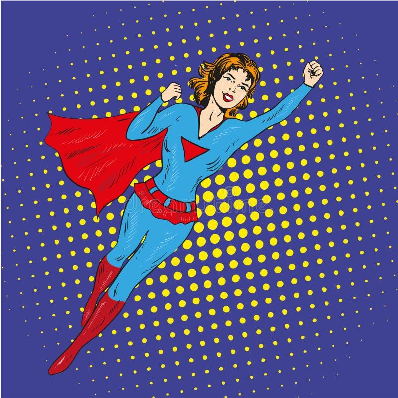 特级英雄妇女飞行在可笑的减速火箭的流行艺术样式的传染媒介海报 向量例证