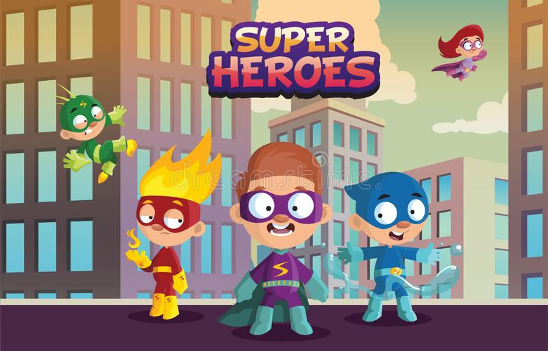 特级英雄孩子、滑稽的男孩和女孩字符队在五颜六色的超级英雄打扮动画片传染媒介例证  皇族释放例证