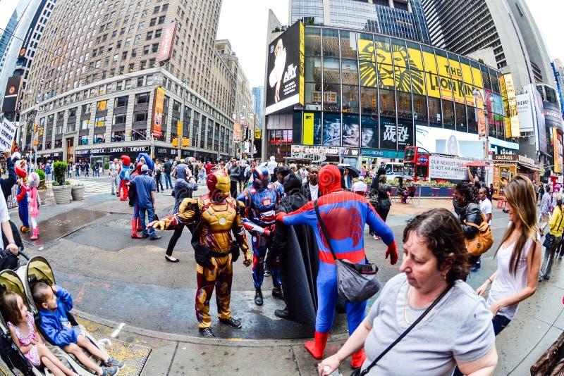 特级英雄摊牌!时代广场,纽约, NY 免版税库存图片
