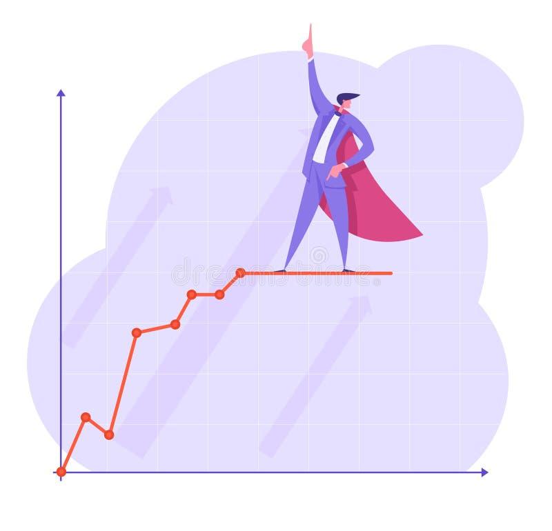 特级英雄海角的商人指向立场的手指在增长的图残破的曲线线 成长数据 向量例证