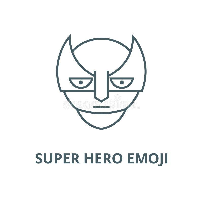 特级英雄emoji传染媒介线象,线性概念,概述标志,标志 库存例证