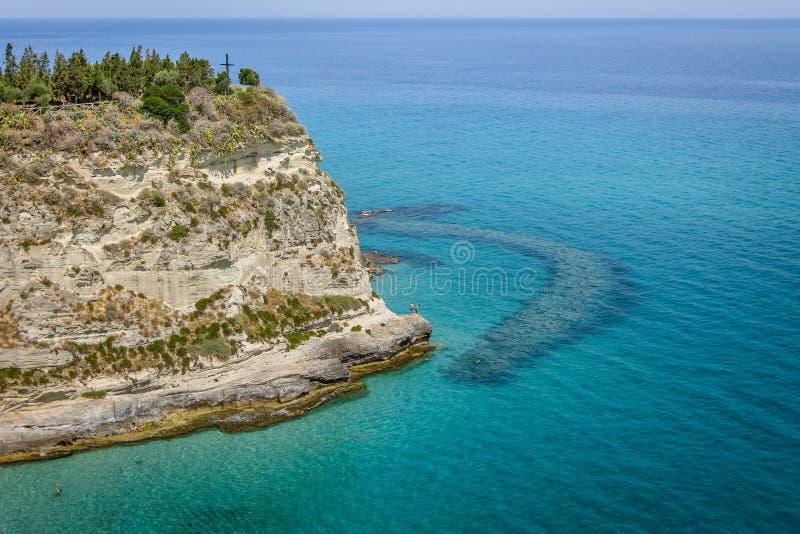 特罗佩亚海岸-特罗佩亚,卡拉布里亚,意大利看法  图库摄影