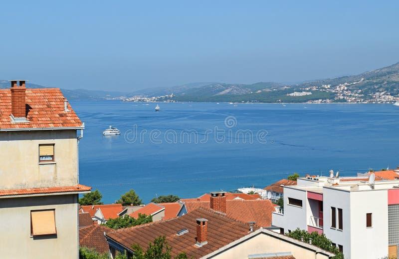 特罗吉尔市看法在克罗地亚 免版税库存照片