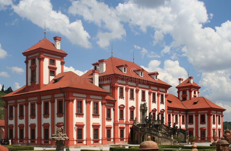 特罗扬宫殿在布拉格,捷克共和国主要城市 免版税库存图片