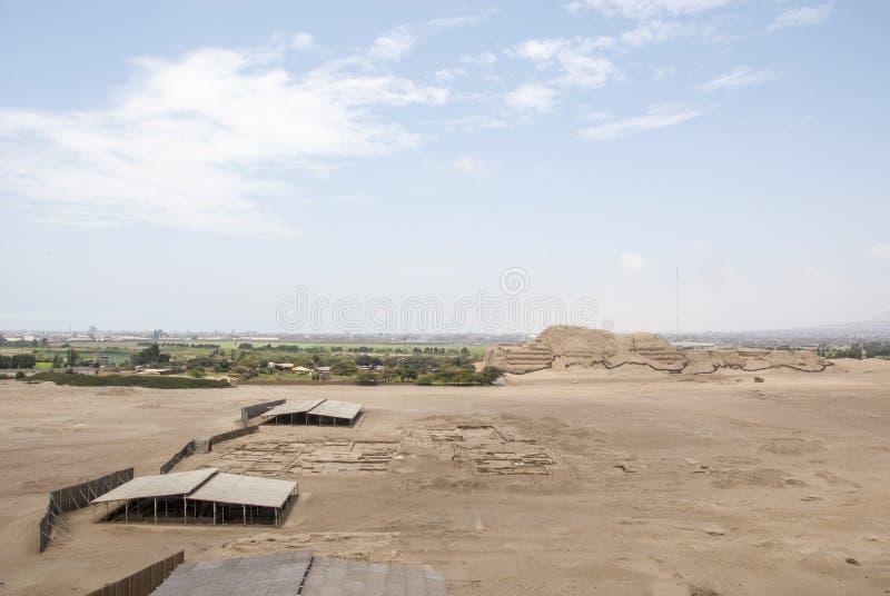 特鲁希略角- Salaverry的秘鲁昌昌考古学站点 库存照片