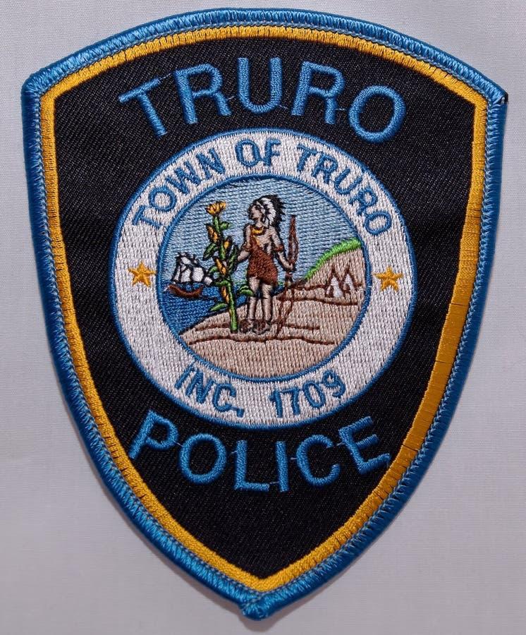 特鲁罗警察局的肩章在马萨诸塞 免版税库存图片