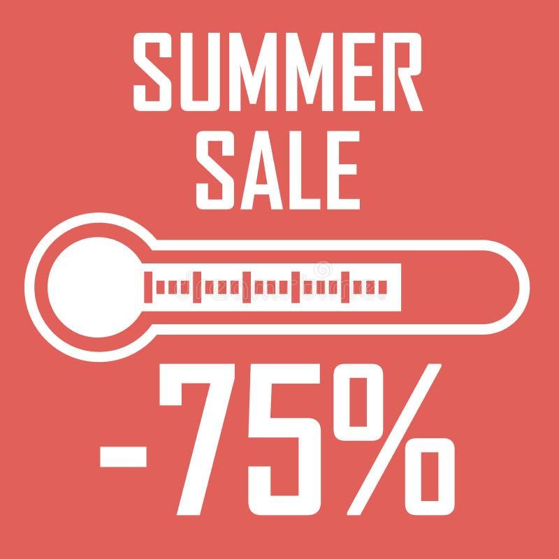 特价优待,以显示百分之七十五的温度计的形式夏天折扣 另外的背景是蓝色蝴蝶装生动被更改的标志格式销售额天空夏天的星期日于罐中 例证 皇族释放例证