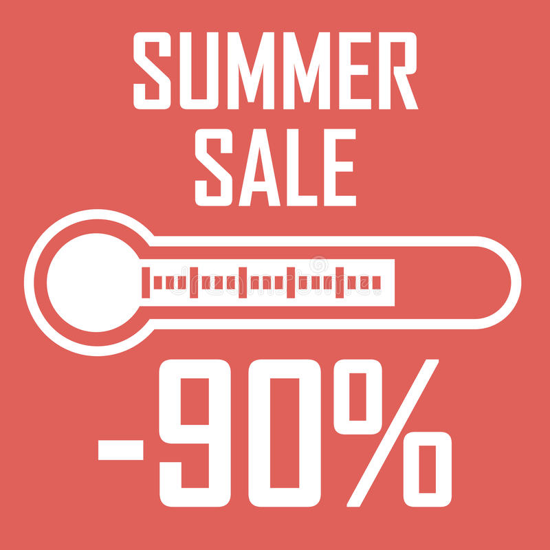 特价优待,以显示百分之九十的温度计的形式夏天折扣 另外的背景是蓝色蝴蝶装生动被更改的标志格式销售额天空夏天的星期日于罐中 com接地地球例证文本 库存例证