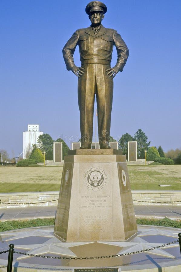 代特D将军雕象  艾森豪威尔 阿比林,堪萨斯 库存照片