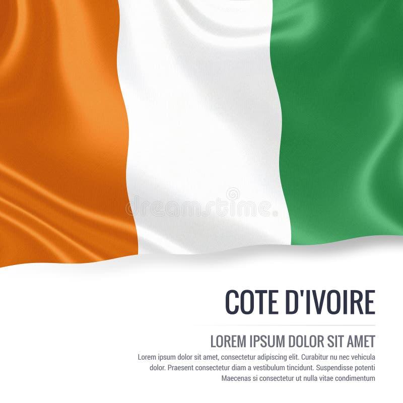 彻特D `挥动在与白色正文的被隔绝的白色背景的Ivoire柔滑的旗子您的广告消息的 向量例证