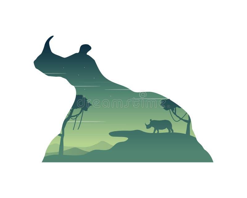 犀牛剪影在小山风景的 皇族释放例证