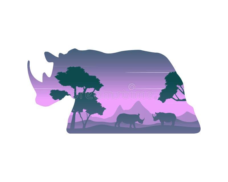 犀牛剪影在小山风景的 向量例证