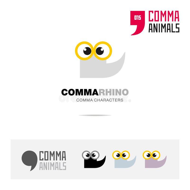 犀牛动物概念象集合和现代品牌身份商标模板和根据逗号的app标志签字 皇族释放例证