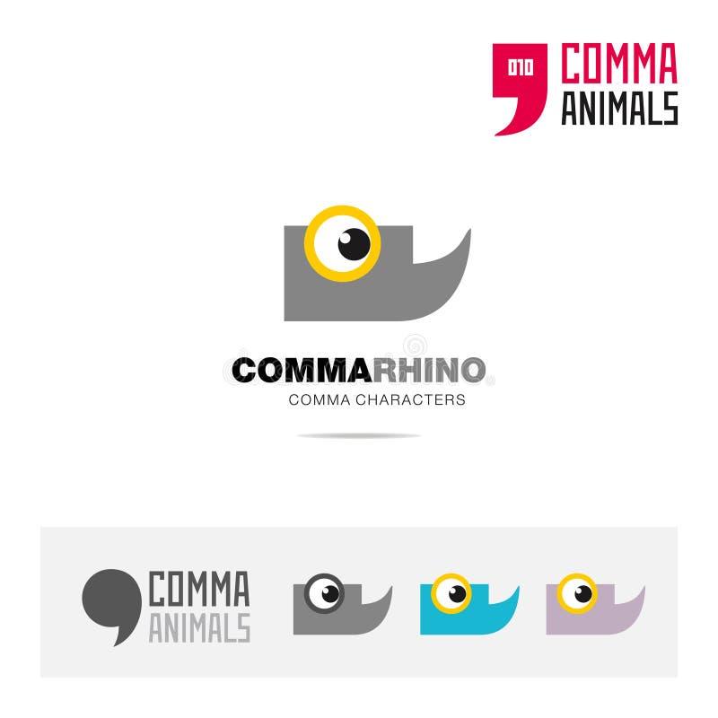 犀牛动物概念象集合和现代品牌身份商标模板和根据逗号的app标志签字 库存例证