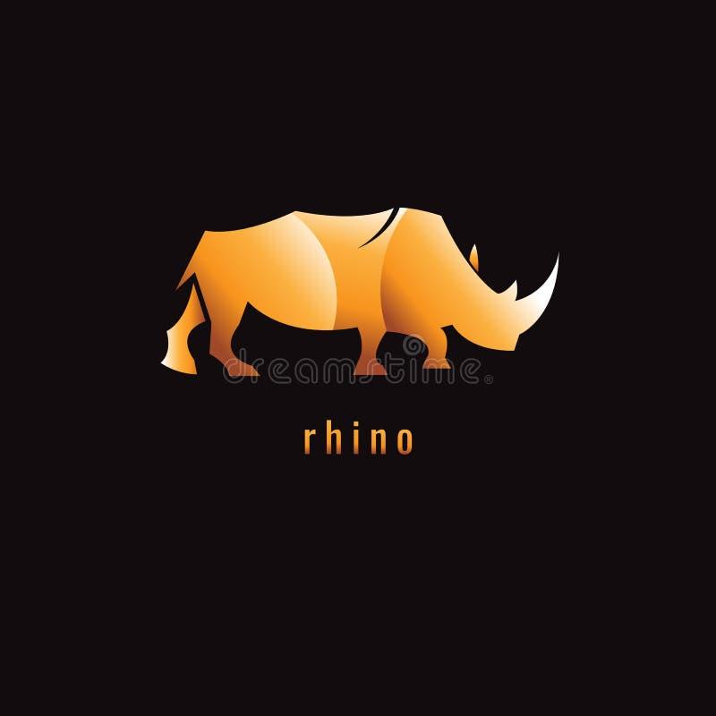 犀牛在黑暗的背景的梯度桔子 徽标 符号 向量 皇族释放例证